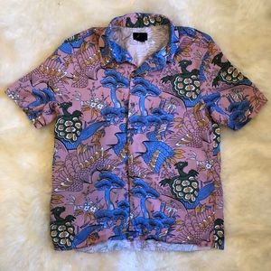 H&M Pink Exotic Animal Design Button Up